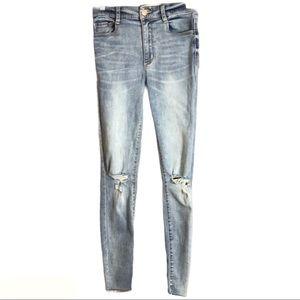 🔥Garage Hi-Rise Distressed Jeans with Raw Hem 03